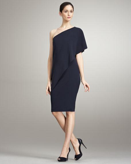 Wool One-Shoulder Dress