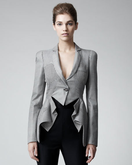 Houndstooth Peplum Jacket
