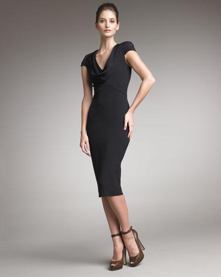 Cowl-Neck Dress, Black
