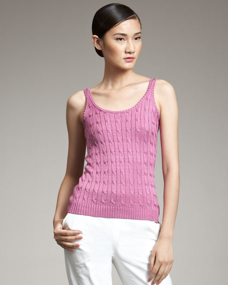 Cable-Knit Silk Tank