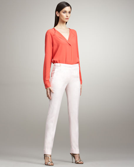 Cropped Narrow Trousers, Petal