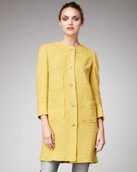 Bracelet-Sleeve Tweed Coat