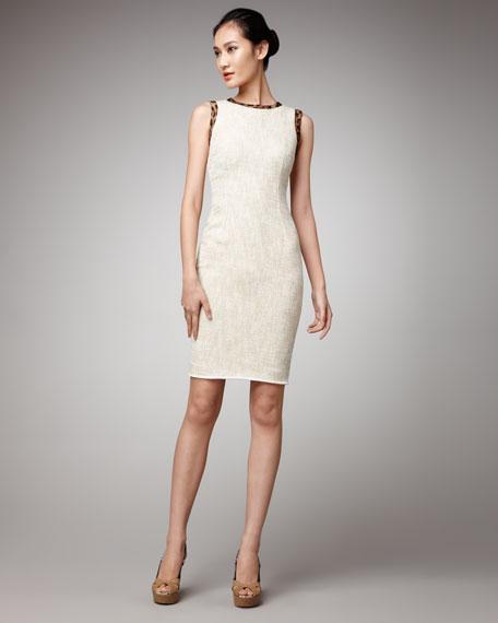 Leopard-Trim Sheath Dress