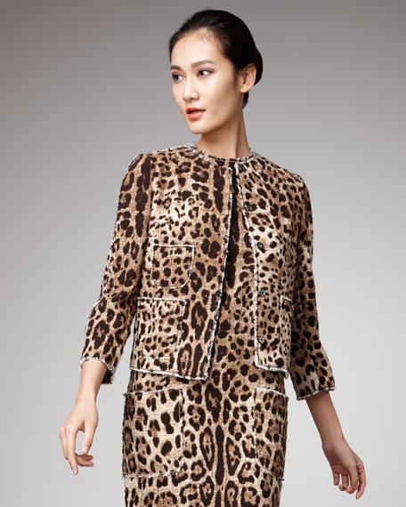 Leopard-Print Tweed Jacket