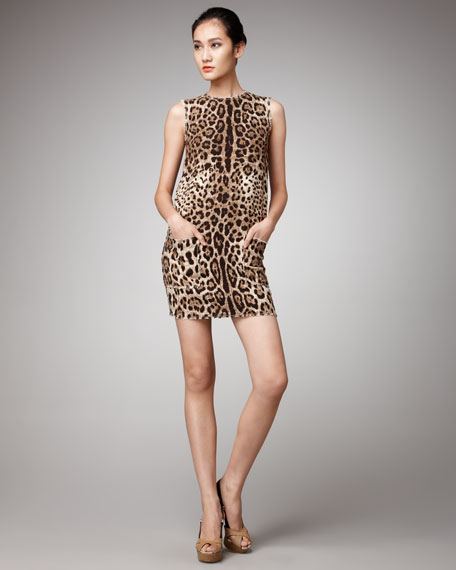 Leopard-Print Tweed Dress
