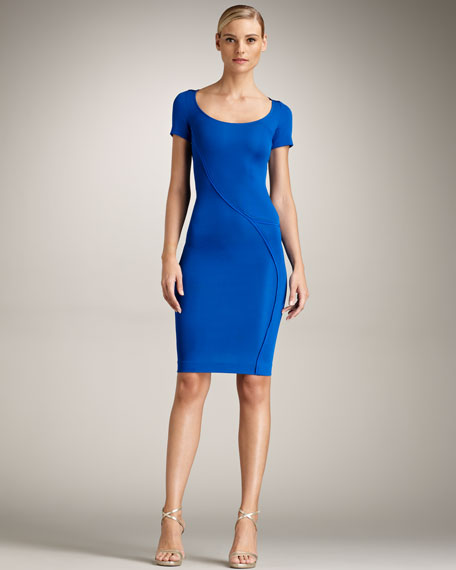 Versace Swirl-Seam Scoop-Neck Dress