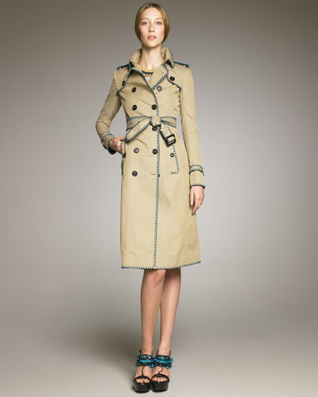 Whipstitch-Trim Trenchcoat