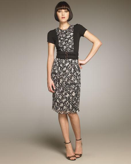 Geometric Floral-Print Dress