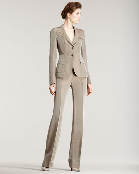 Wheat Linen-Silk Pants