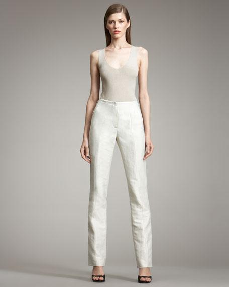 Textured Linen-Blend Pants