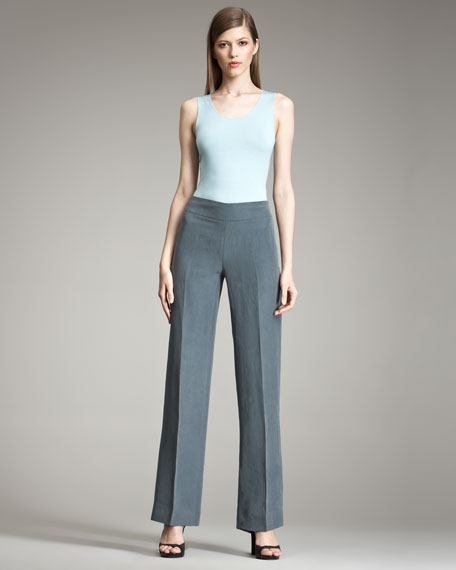 Wide-Leg Linen-Silk Pants