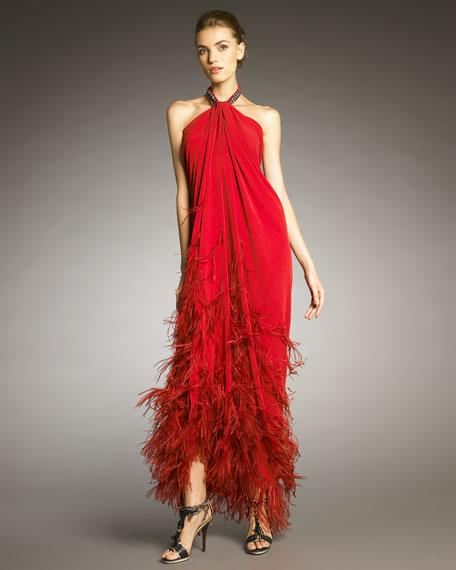 Feather-Applique Halter Gown