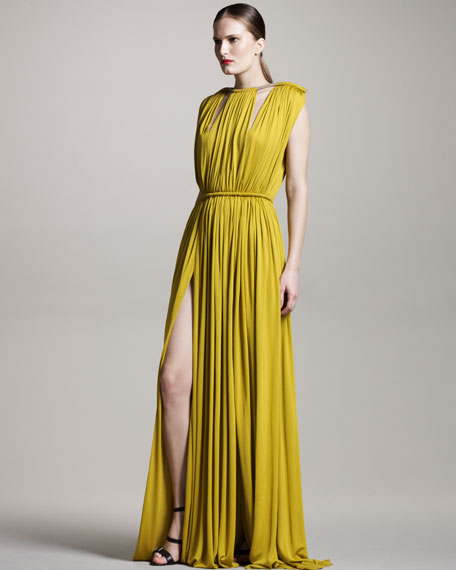 Rope-Shoulder Gown