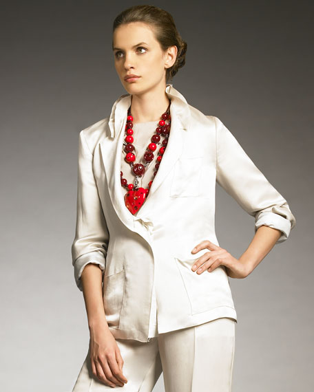 Ruffle-Collar Silk Blazer