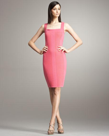 Lattice-Knit Sheath Dress
