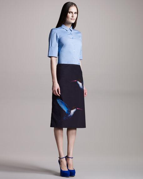 Hummingbird-Print Skirt