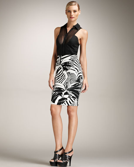 Tropical-Print Pencil Skirt
