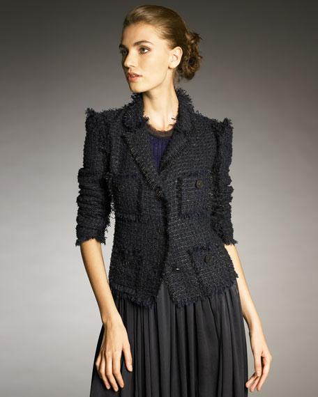 Fray-Trim Tweed Jacket