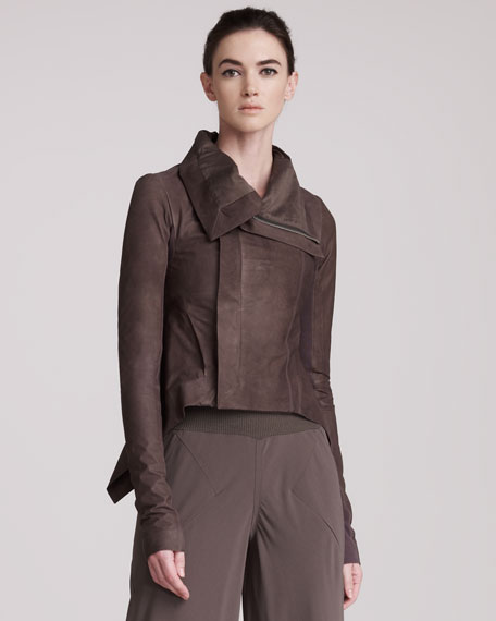 Distressed Funnel-Collar Leather Jacket
