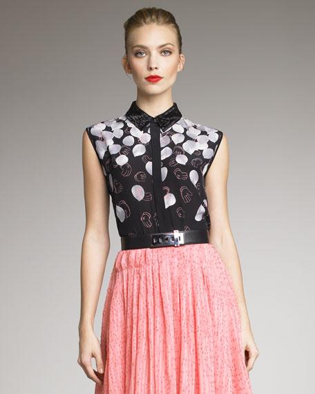 Petal-Print Silk Shirt