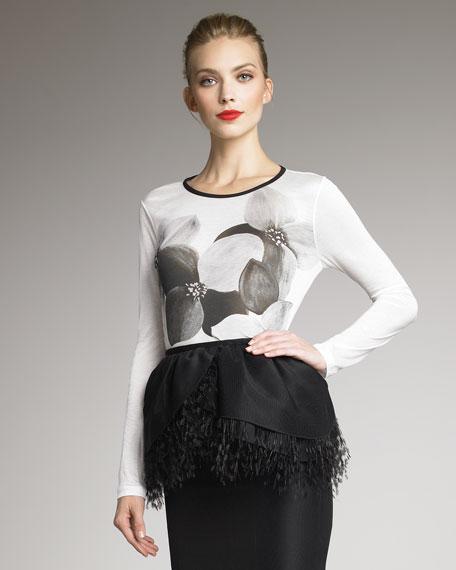 Floral-Print Jersey Shirt, Ivory