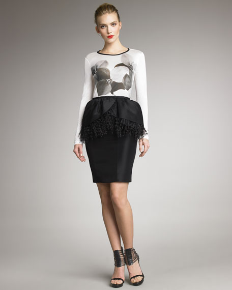 Ostrich-Trim Zibeline Skirt