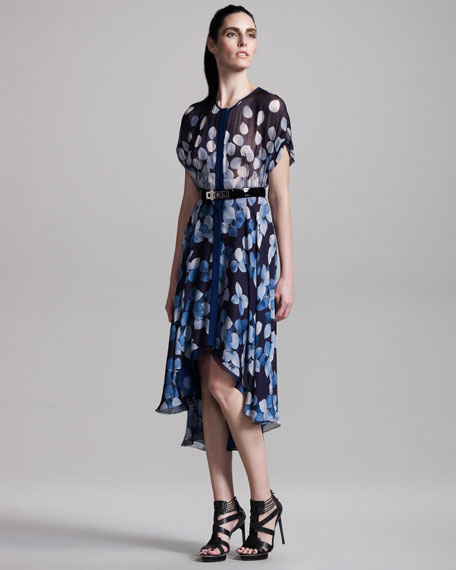 Petal-Print Pleated Dress