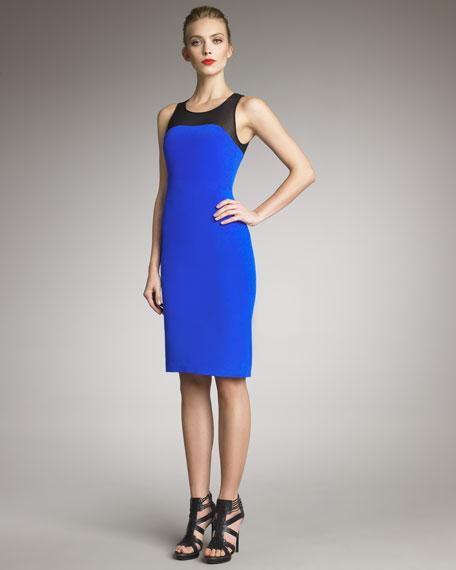 Mesh-Yoke Sheath Dress