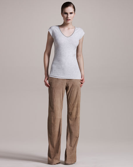 Wide-Leg Suede Pants