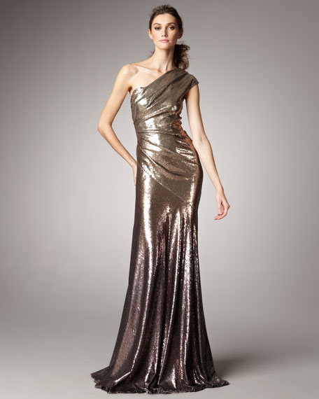 One-Shoulder Ombre Sequin Gown