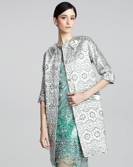 Embroidered Metallic Coat