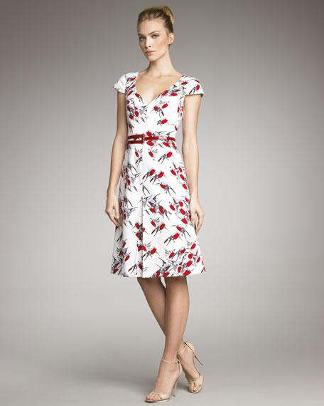 Sparrow-Print V-Neck Dress