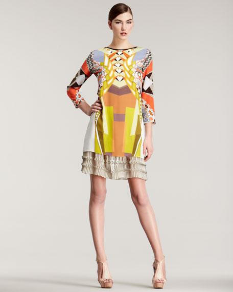 Geometric-Print Silk Dress