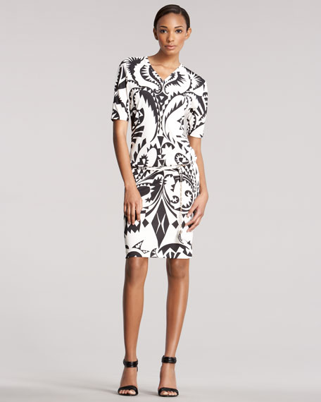 Printed Raglan-Sleeve Dress