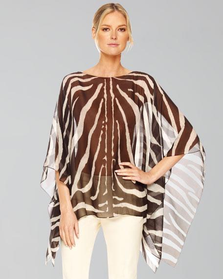 Zebra-Print Chiffon Tunic