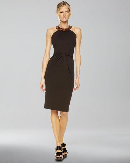 Faux-Python Halter Dress