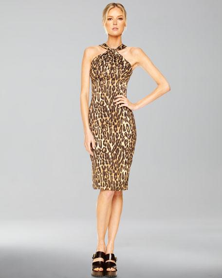 Jaguar-Print Twisted Halter Dress