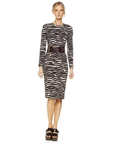 Belted Zebra-Print Dress