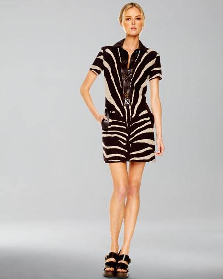 Oversized Zebra-Print Shirtdress