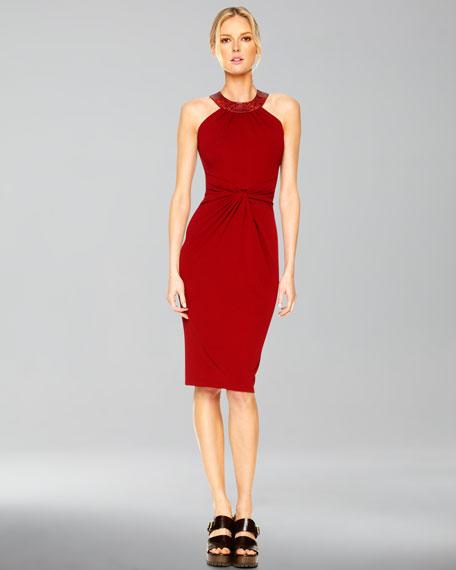 Twist-Front Halter Dress