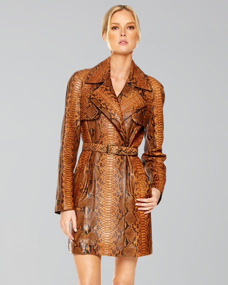 Painted Python Belted Trench