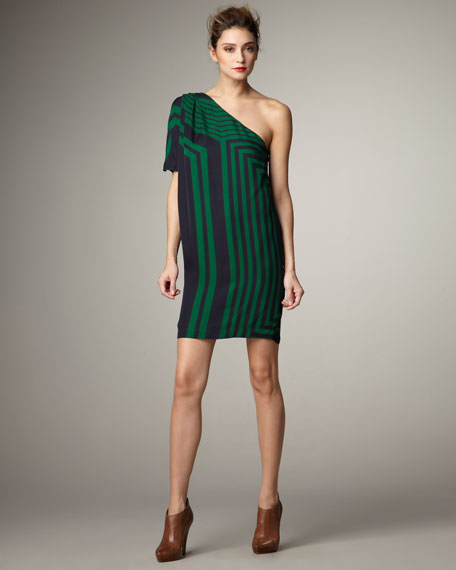 One-Shoulder Striped Dress
