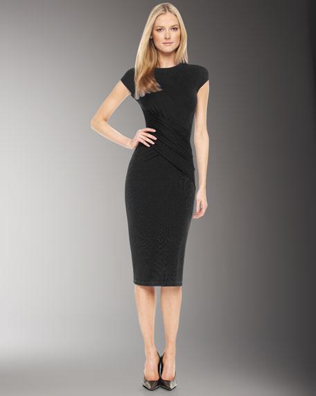 Wrap-Detail Jersey Dress, Black