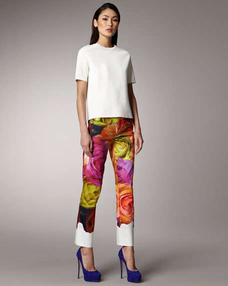 Rose-Print Pants