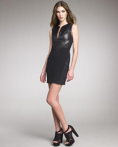 Leather Chevron Dress