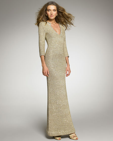 Crocheted Sequin Gown