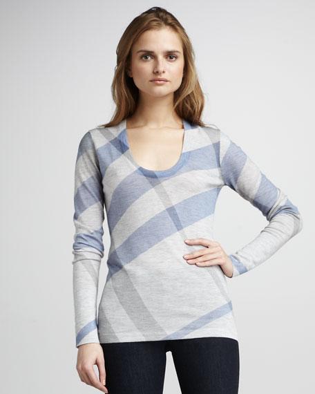 Long-Sleeve Check-Print Sweater