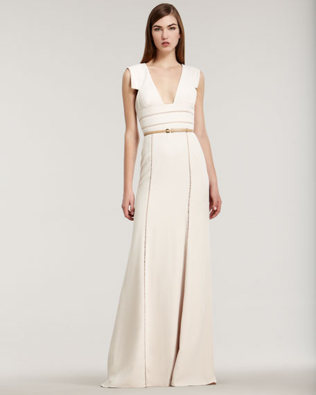 Stretch Crepe Cap-Sleeve Gown