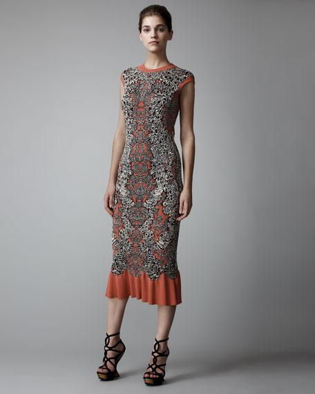 Barnacle Tea-Length Intarsia Dress