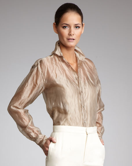 Crinkled Organza Blouse